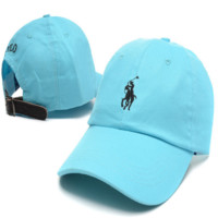 Light Blue Polo Embroidered Unisex Adjustable Cotton Sports Cap Hat