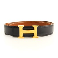 AUTHENTIC HERMES CONSTANCE H BELT BLACK BROWN 65 Y GRADE AB USED -AT*