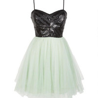 Pleather Sequin Tulle Party Dress