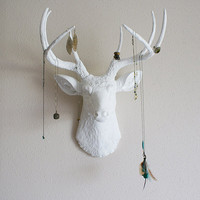 White deer head wall mount by hclaire on Etsy