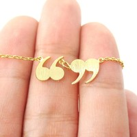 Quotation Marks Inverted Commas Shaped Charm Necklace in Gold   DOTOLY