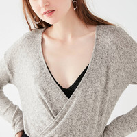 UO Plush Surplice Top   Urban Outfitters