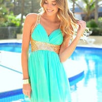 V Neck Sleeveless Blue Chiffon Mini Dress With Gold Sequins