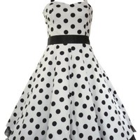 50's Big Polka Dot Dress White & Black