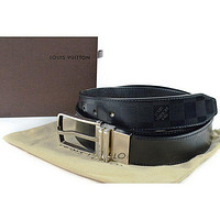 LOUIS VUITTON Damier Anfini Mens reversible Belt ceinture 100%Auth From JAPAN