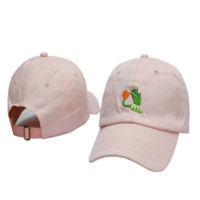 Pink Frog Embroidered Adjustable Cotton Baseball Cap Hat