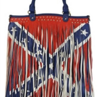 Flag: Confederate Rebel Flag Concealed Carry Tote Purse with Fringe
