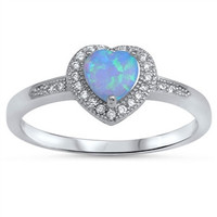 925 Sterling Silver Simulated Diamond and Lab Light Blue Opal Heart Halo Ring 8MM