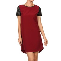 Solid Knit Shirt Mini Dress with Scalloped Hem and PVC Short Sleeve