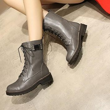 Lace Up Buckle Motorcycle Boots Low Square Heel 9750