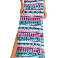 Tribal Print Double Slit Maxi Skirt - Bright Turquoise Combo