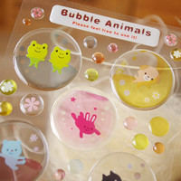 Cute animal ball sticker crystal ball sticker lovely pet bubble animal glass ball colorful crystal ball seal label deco handmade gift card
