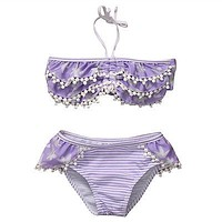 Summer Floral Baby Girls Kid Swimsuit Bathing Suit Strap Tassel Swimwear Tankini Bikini 1-5Y