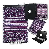 Jersey Bling® Kindle Fire HD 7 2nd Generation Crystal Rhinestone Rotating Faux Leather Case with Built In Stand & Stylus (Purple Leopard)