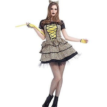 Sexy Lady Cheetah Cosplay Adult Women Halloween Party Animal Costume