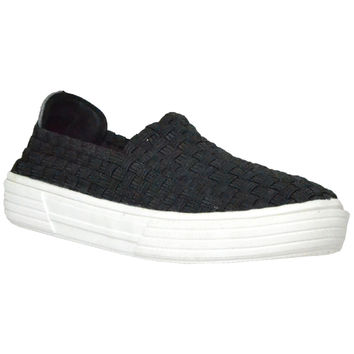 Kids Flat Shoes Slip On Weave Sneakers Casual Comfort Loafers Black