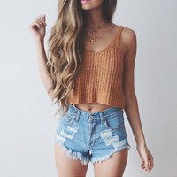 Solid color Fashion knit tops