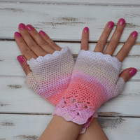 Fingerless gloves white, pink lace mittens, crochet  lace mittens, cotton gloves, crochet fingerless gloves, spring accessories women lace