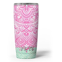 Green and Pink Tribal v3 - Skin Decal Vinyl Wrap Kit compatible with the Yeti Rambler Cooler Tumbler Cups