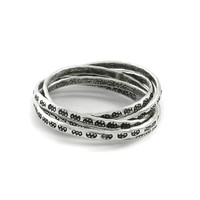 Sterling Silver interlocking Ring, 5 Stamped Silver Linked rings,Combined Stacking silver Rolling Ring,Intertwined ring,Fun ring,Handmade