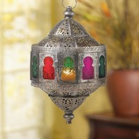 Rustic Moroccan Multicolored Hanging Candle Lantern
