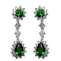 Kimmy Emerald Chandelier Earrings | 36mm