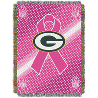 Green Bay Packers NFL Woven Tapestry Throw (Breast Cancer Awareness) (48x60)