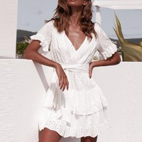 White Embroidery Cotton DressesWomen Short Sleeve Casual Beach Sundress Sexy V Neck Hollow Out Mini Dress