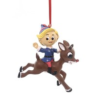 Holiday Ornaments HERMEY RIDING RUDOLPH Polyresin Red-Nosed Reindeer 4051609