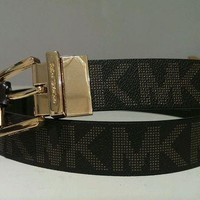 DCCK8TS MICHAEL KORS Belt Reversible Choco MK Print w / Gold Buckle Size Large