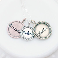 Hand Stamped Personalized Necklace- Mixed Metal- Artisan Vintage Charm Necklace - Family Names - Family Jumble - Mothers Day