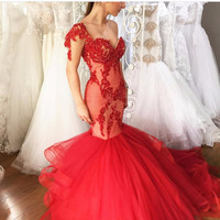 Cheap Red Sexy Sweetheart Sequins Lace Tulle Mermaid Long Formal Evening Dress 2017
