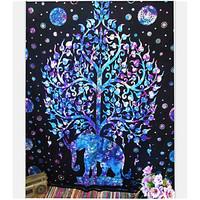 Boho Hippie Mandala Blu on Black Elephant Tree Tapestry Bedspread,  Beach Throw, Yoga Mat,  Home Decor 150*130c Polyester