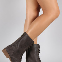 Bamboo Combat Contrasting Flat Ankle Boots