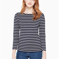 stripe scallop knit top