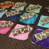 Giraffe MINKY Carseat Strap Covers reversible - Ships in 1-3 Days