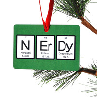 Nerdy Periodic Table of Elements Christmas Ornament