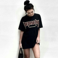 """Purpose Tour"" Fashion Casual Loose Male Female Letter Print Round Neck Short Sleeve Couple Cotton T-shirt"