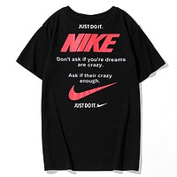 NIKE New Summer Fashion Letter Hook Print Women Men Top T-Shirt Black