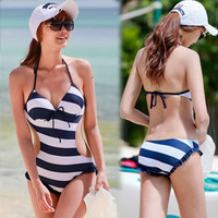 Sexy Halter Monokini One Piece Swimwear Women's Padded Stripe Black Navy