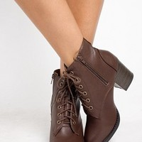 KORMAN-S-7-4 Leather Lace-Up Heel Boots Women Boots BROWN Bare Feet Shoes