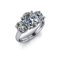 Forever Brilliant Moissanite Oval Three Stone Ring 5 CTW