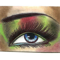 womans eye makeup original aceo art drawing long lashes mini art Elizavella