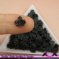 Black CROWN Nail Cabochon Tiny Girly Resin Flatback Nail Art Cabochons (10 pieces)