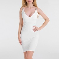 Deep V Solid Color Bodycon Dress