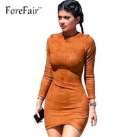 S-XL Suede Long sleeve Spring Winter Dresses 2015 Sexy Club Mini Bodycon Party Dress Vestidos Casual Women Clothing
