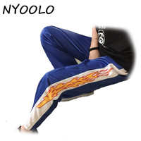 Korea design hot sale novelty flame Print Harajuku loose casual Straight pants women and men elastic waist hip hop pants