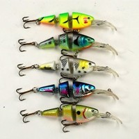Akuna Pack of Five Wobblin Goblin Series 3.5 inch Shallow Diving Jointed Lure for Bass & Trout (Pack C)