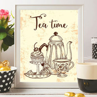 Tea Art Printable Tea Print Tea time Poster Tea quotes Tea pot Kitchen prints Kitchen decor Tea gift Wall art 8x10 Digital file SALE