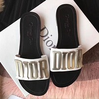 New metal letter flat slippers leisure flip-flop beach sandals slippers White